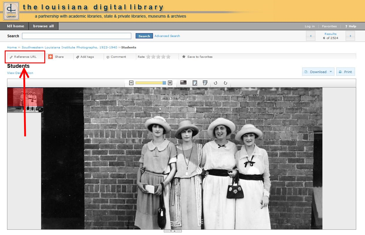 LOUISiana Digital Library Screenshot