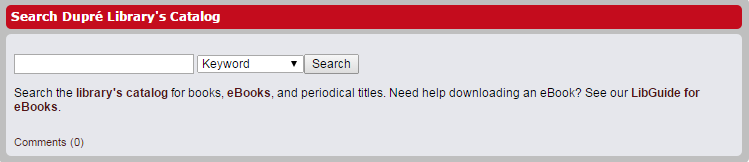 Dupré Library Catalog Widget Example Screenshot