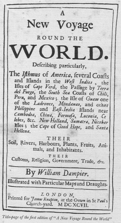 Title Page from A New Voyage Round the World by William Dampier