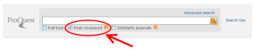 How to find peer reviewed articles in ProQuest Nursing and Allied Health Source Screenshot