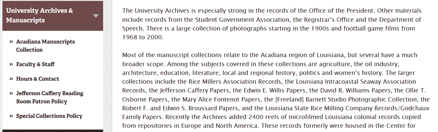 Acadiana Manuscripts Collection