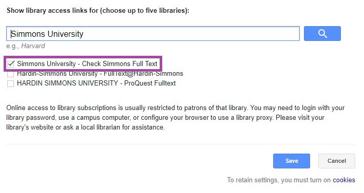 Screenshot of Google Scholar Library Links with Simmons University checked off