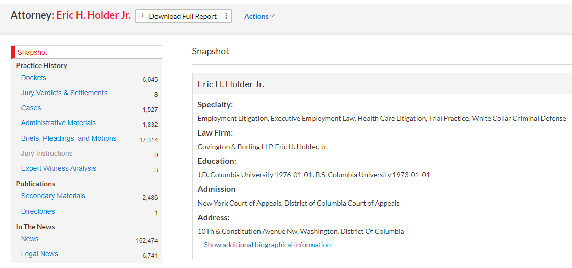 screenshot of an attorney profile in Litigation profile suite