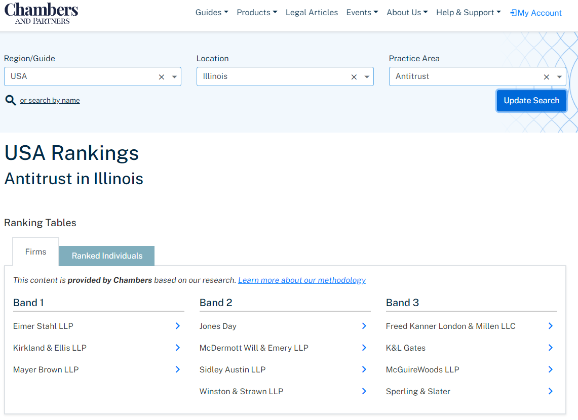 screenshot of example search for illinois antitrust firms using chambers and partners database
