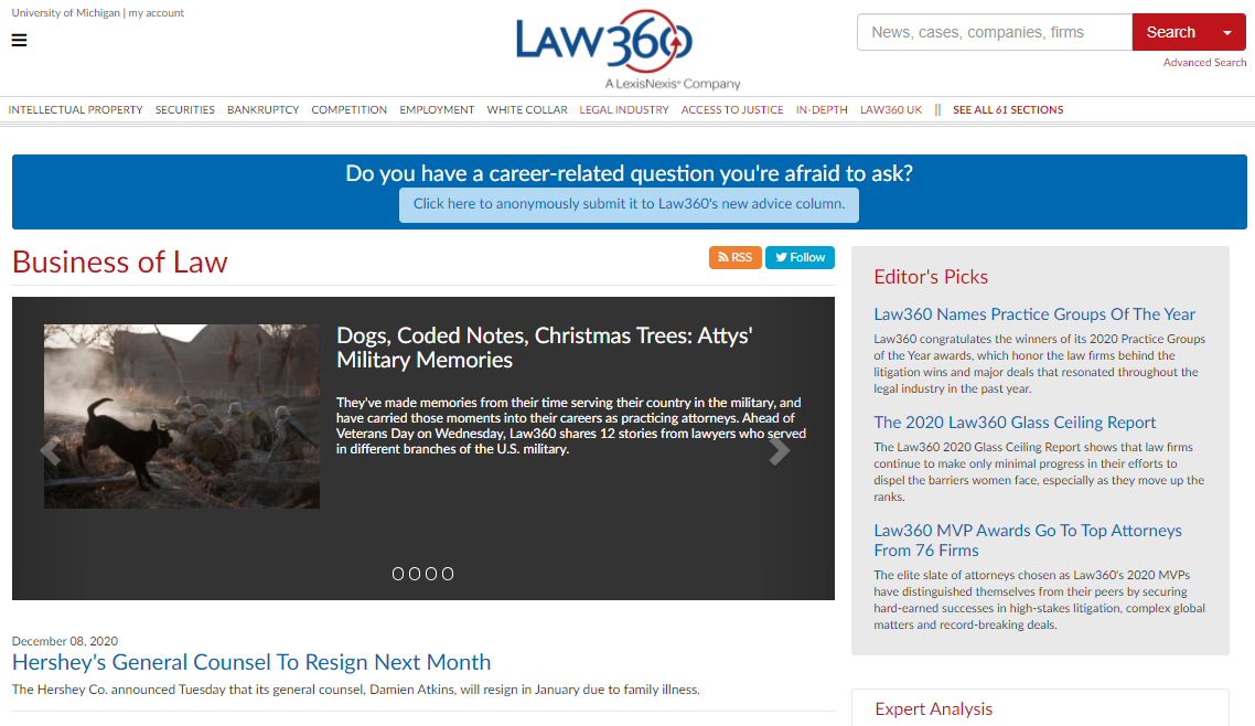 screenshot of Law360 page on Legal Industry