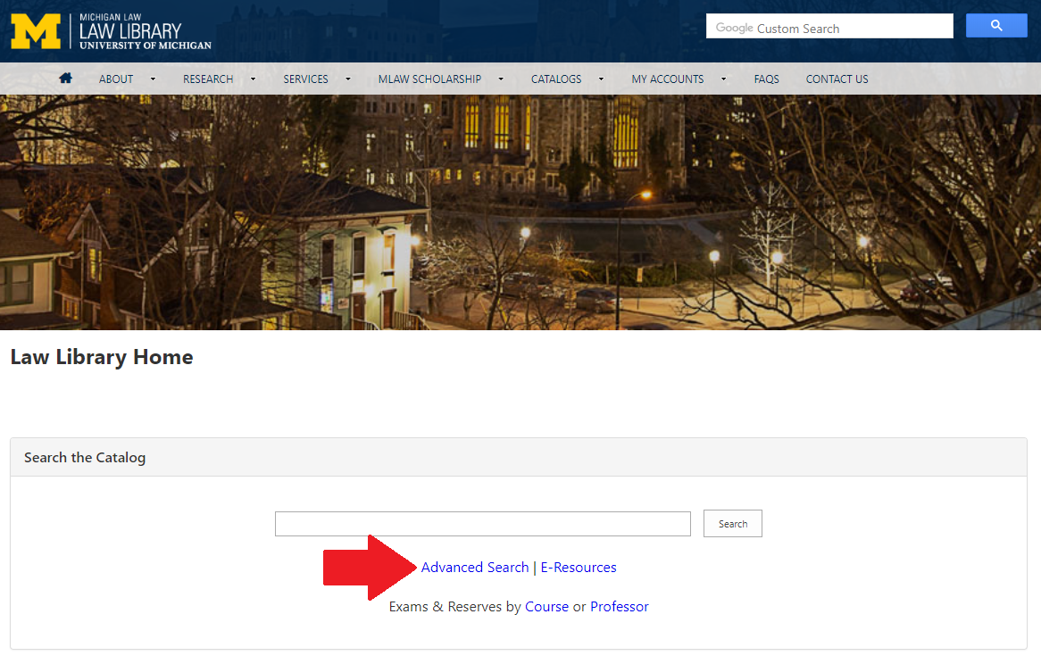 Law Library Homepage - Advanced Catalog Search
