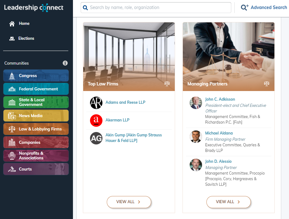 screenshot of leadership connect homepage