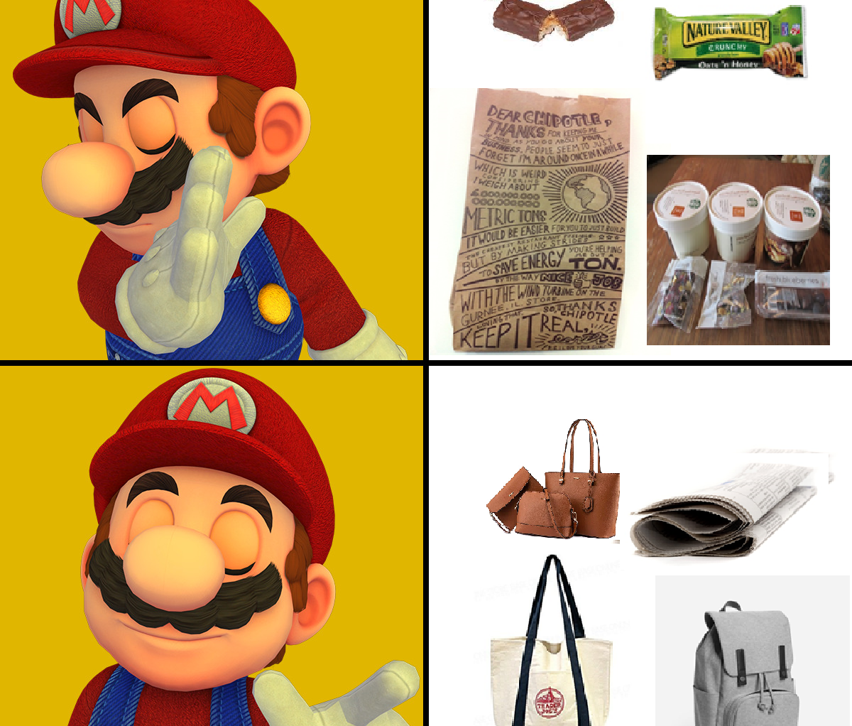 """Mario meme. He says """"no"""" to visible food. He says """"yes"""" to food hidden in bags, jackets, and newspapers."""