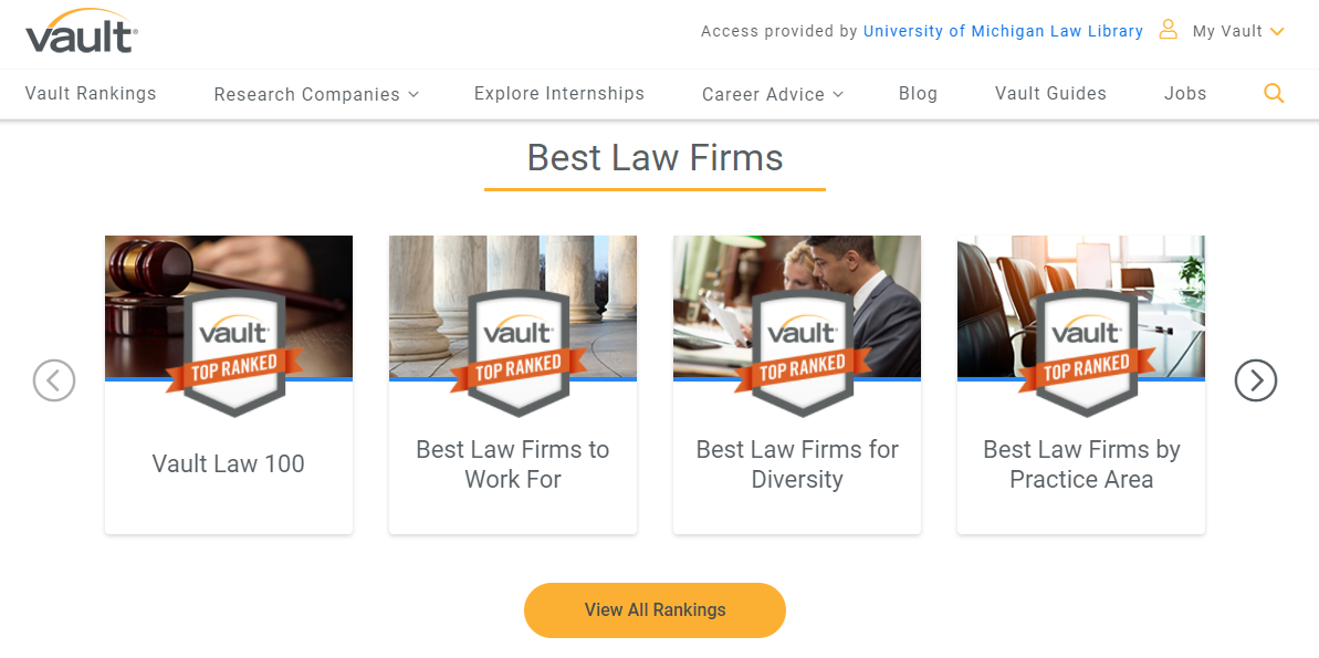 screenshot of vault law firm rankings page