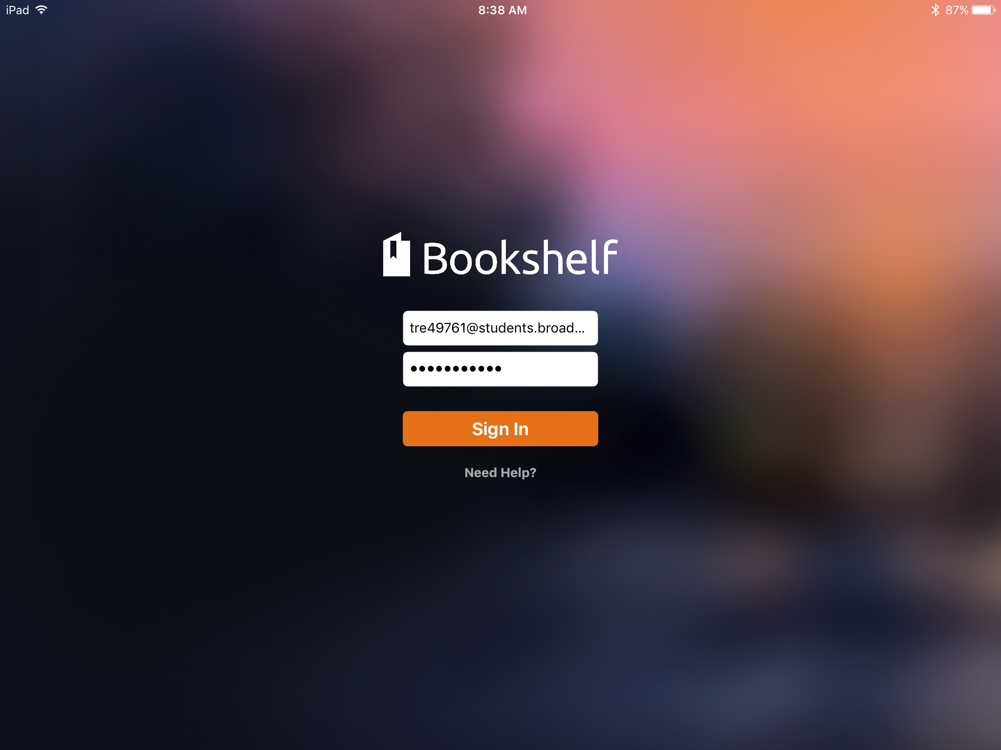 login screen for Bookshelf