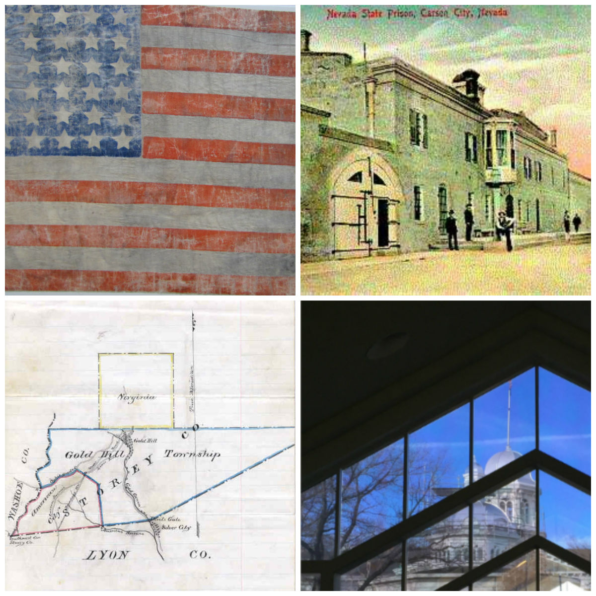 Images of american flag, prison cards, and state capital building through the Archives window