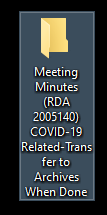 Example of folder text related to COVID-19