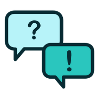 Image of Image of a talking bubble with a question mark and a talking bubble with an exclamation point an open sign