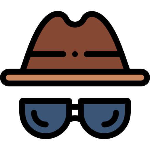 Image of a brown hat and black sunglasses