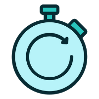 Image of a stopwatch with a curving arrow in the middle