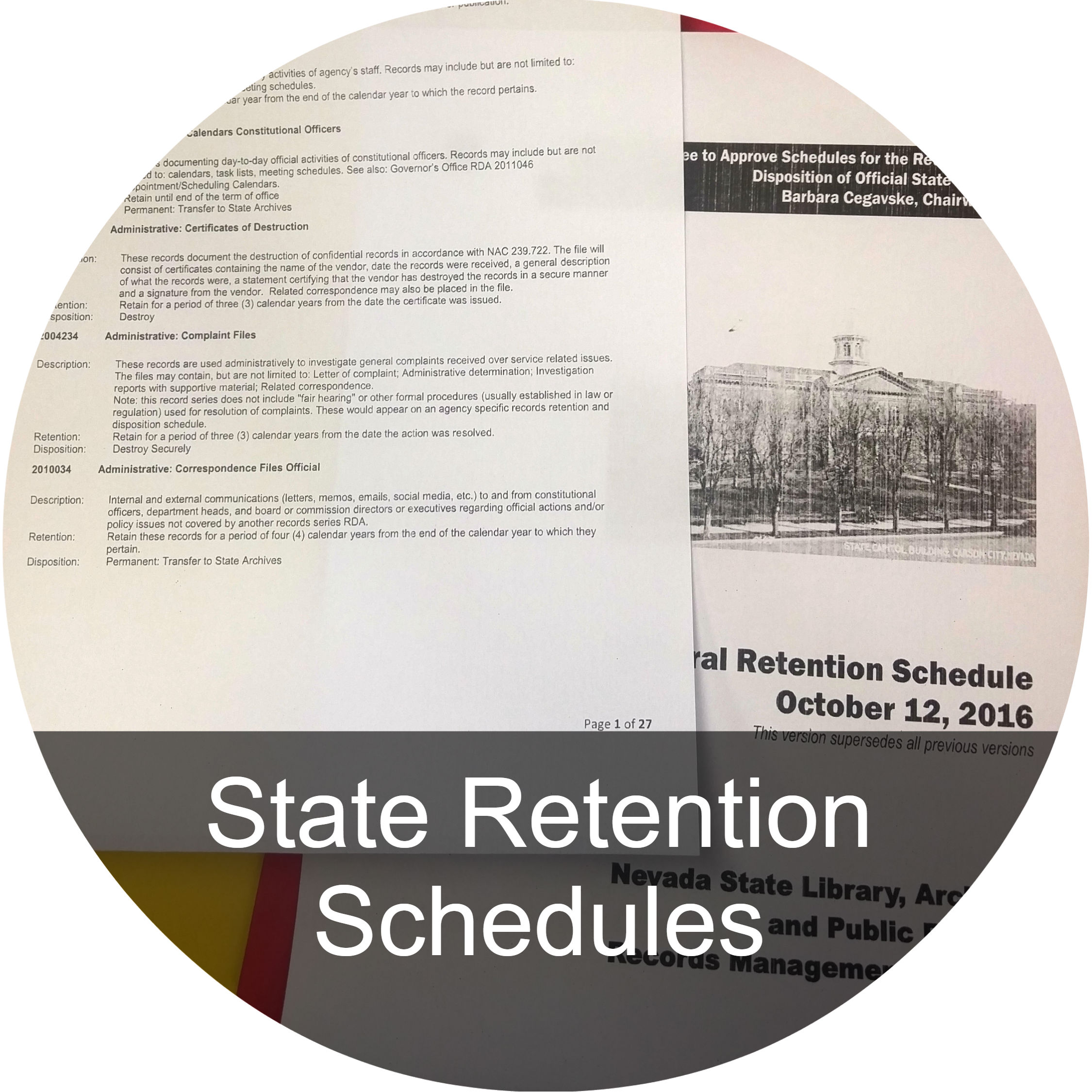A button link to the State Retention Schedules