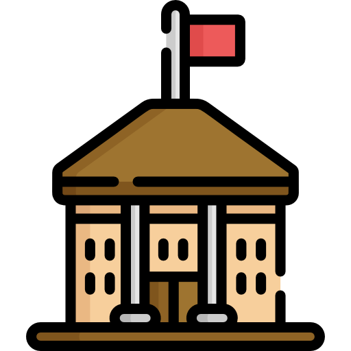 Image of a government style building with a red flag on top
