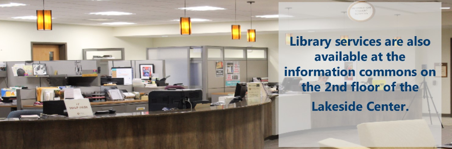 Photo of information commons with text
