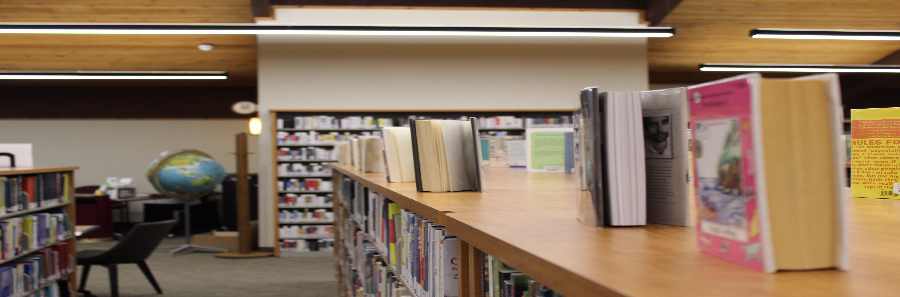 Photo of book display facing circulation area