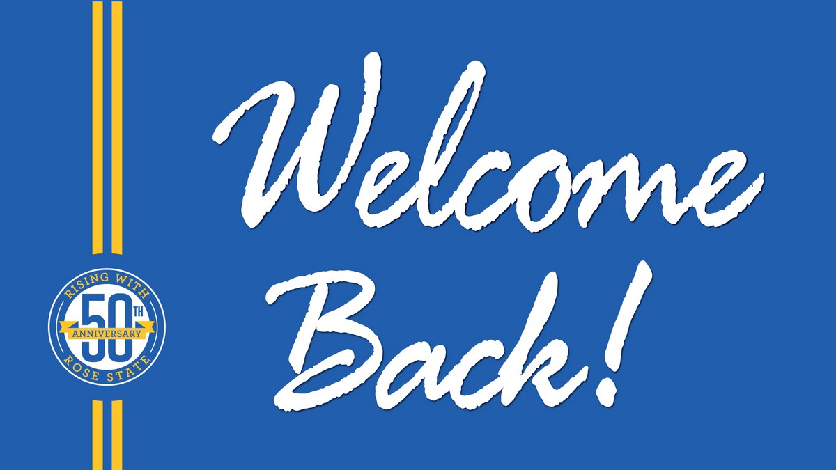 Graphic of Welcome Back text.