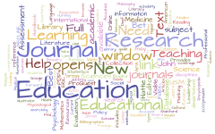 Wordcloud visualization using text from this page. Prominent words include: Journal, Research, and Education