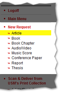 New Request Menu with article item selected.