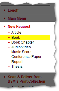 New Request Menu with book selected