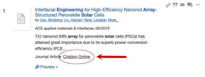 Search result labeled as citation online.