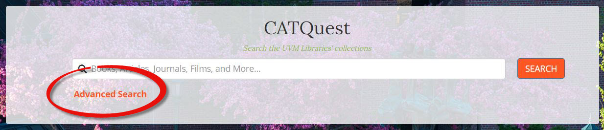 Select Advanced Search in the CATQuest search box