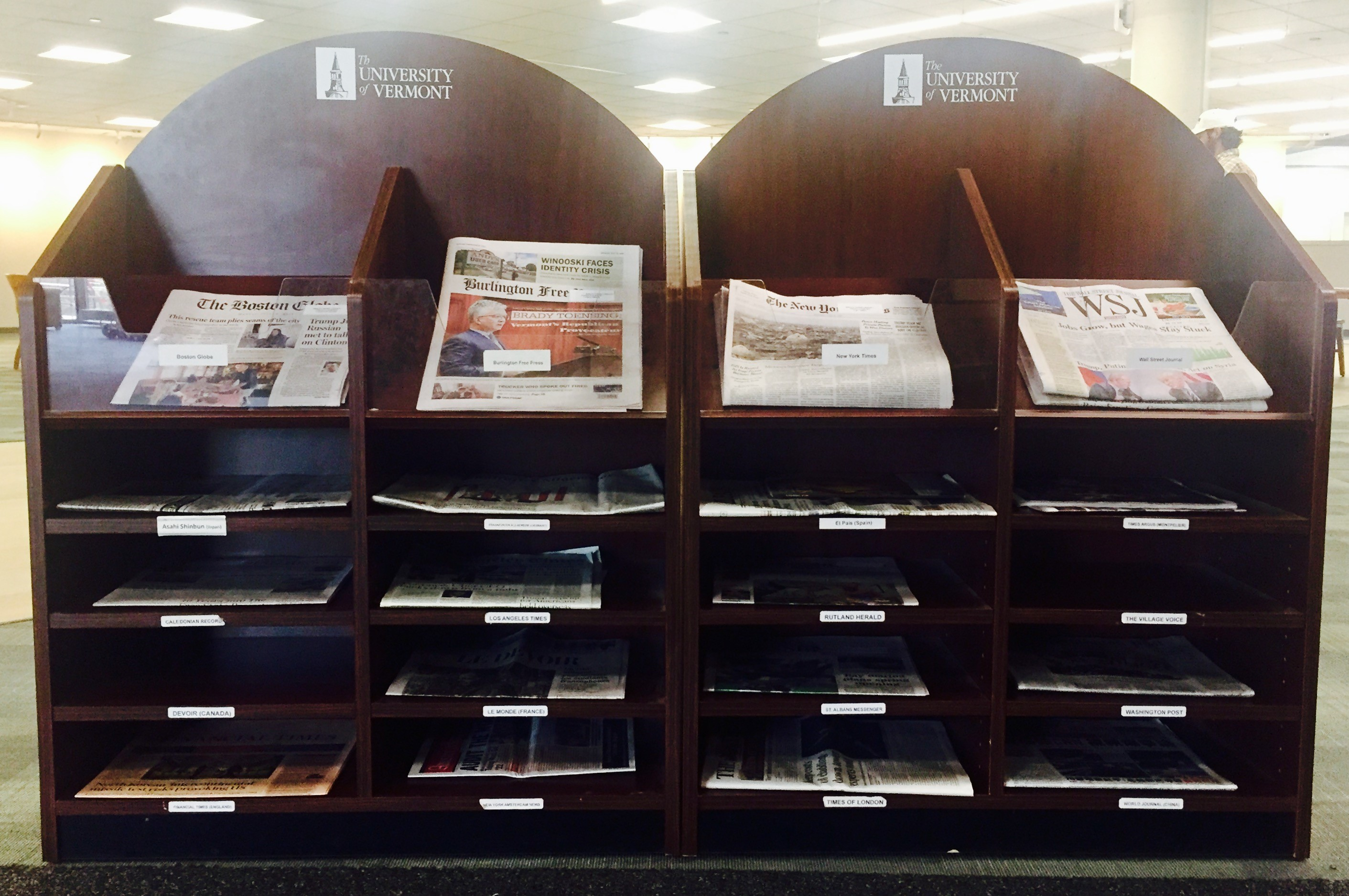 The Recent Newspaper display, is located near the McCrorey Gallery