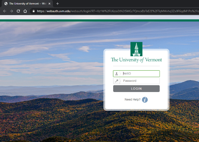 if you see a UVM login screen, log in with your netid and password
