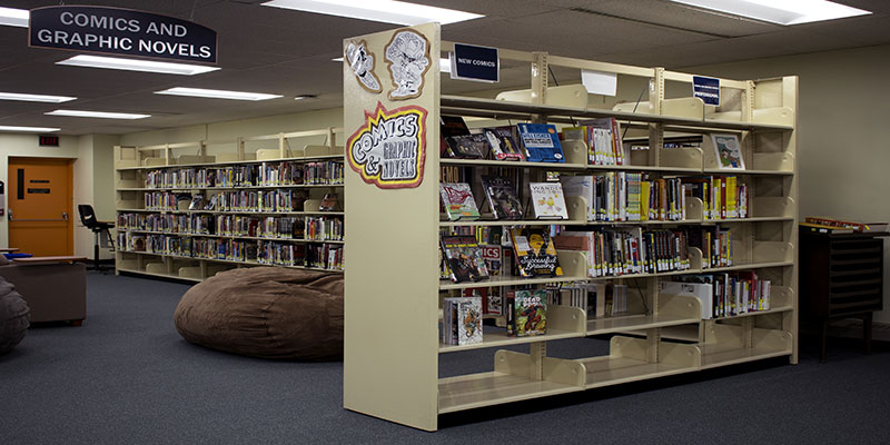 The comics and graphic novels collection on the Second Floor