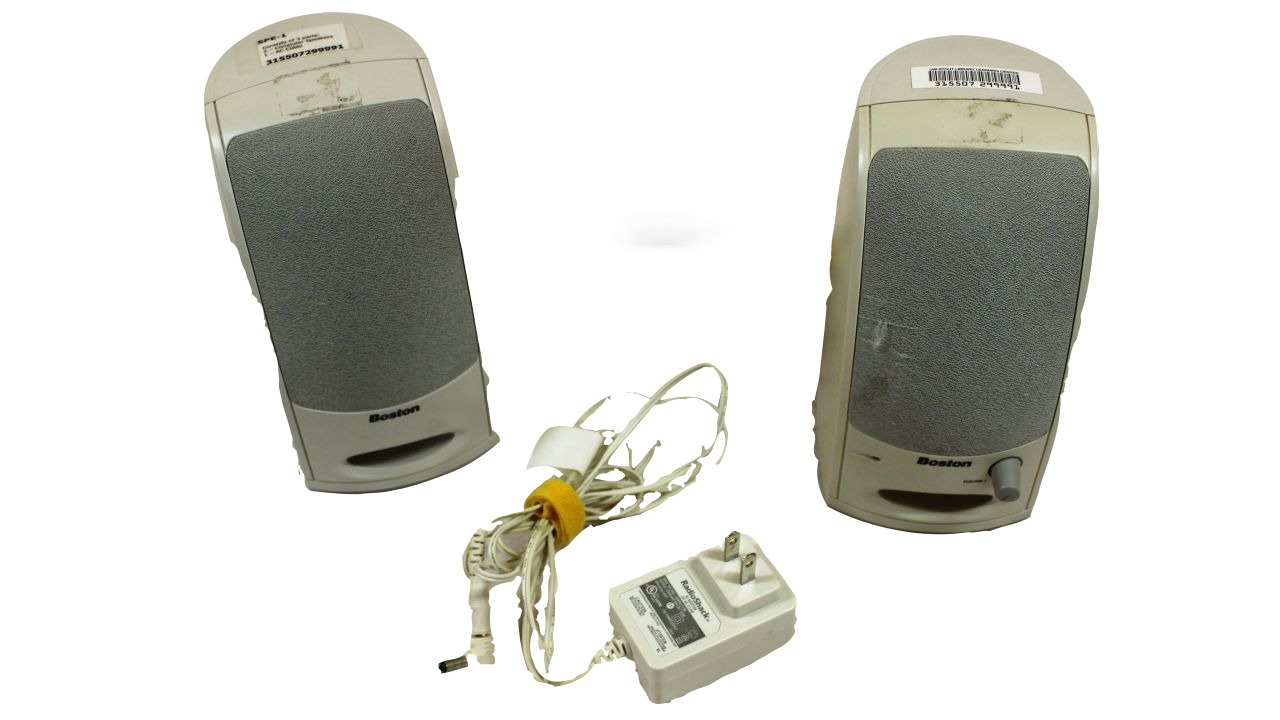 image of two computer speakers