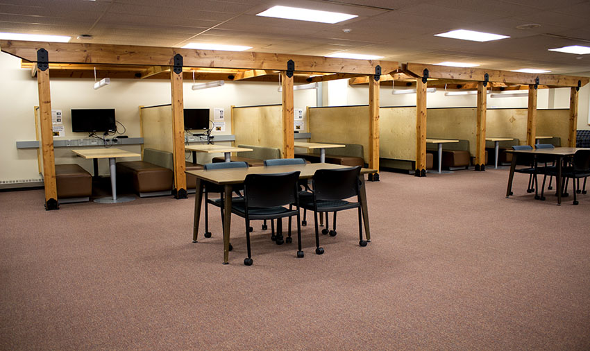 Study booths on the first floor of the library