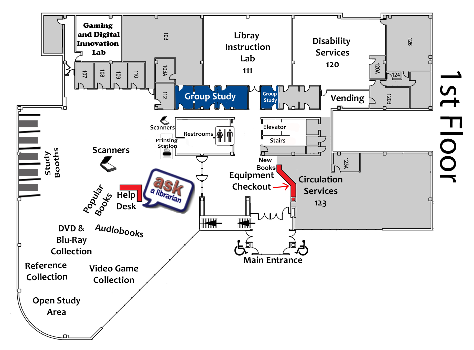 Image map of the first floor of the library
