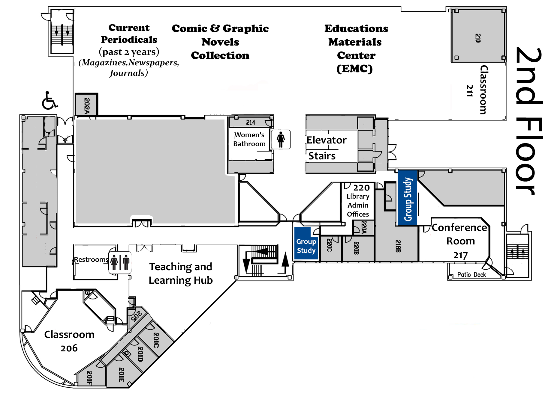 Map of the second floor of the library