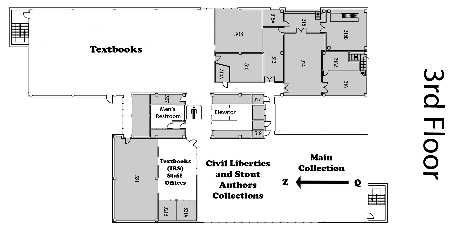 Map of the third floor of the library