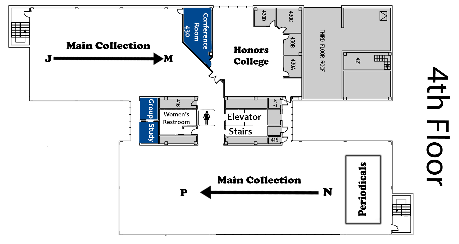 Map of the fourth floor of the library