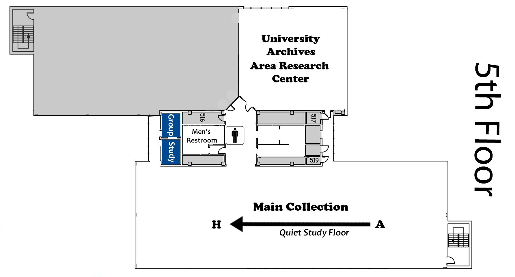 Map of the Fifth Floor of the Library