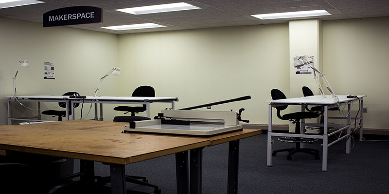 The makerspace is located in the Northwest corner on the Second Floor