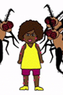 A drawing of a black woman and a mosquito sitting at in a bus stop shelter