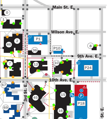 Map of parking lots close to the library