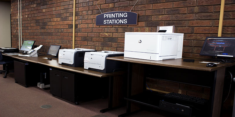 Printers on the first floor of the lobby for patron use
