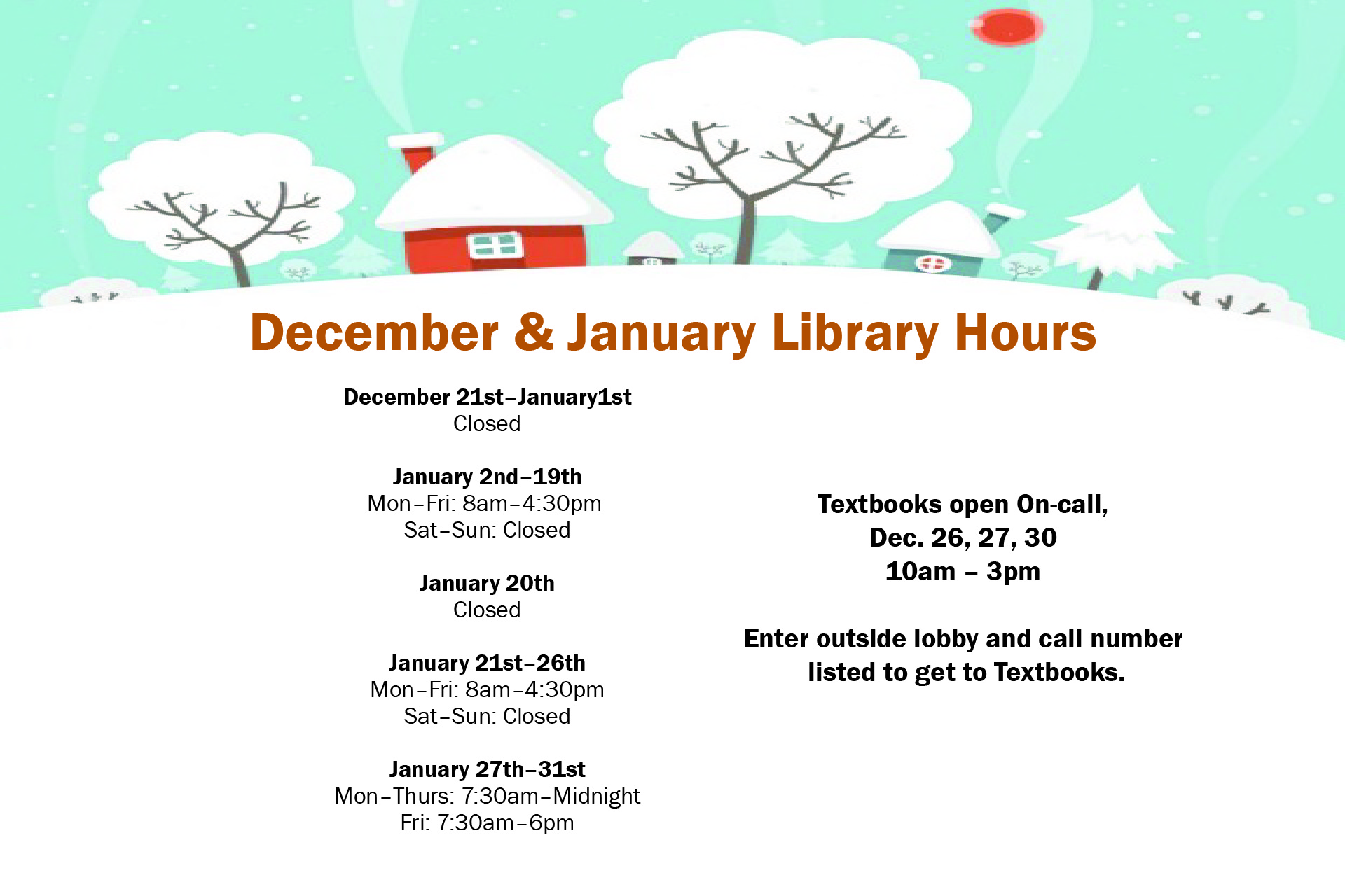 December & January Hours for the Library