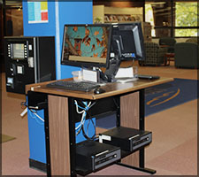 Computers on the stand up stations in the Reference Area