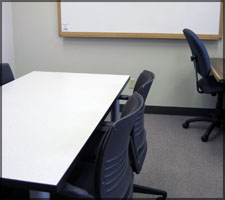 Group study rooms are located on the Fourth Floor of the Library