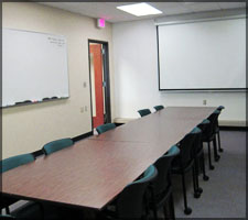 A large study room is located on the Fourth Floor of the Library