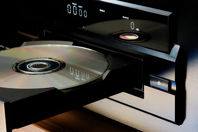image of a music cd in a player