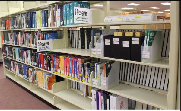 Shelves that are reserved for material requested by students or staff