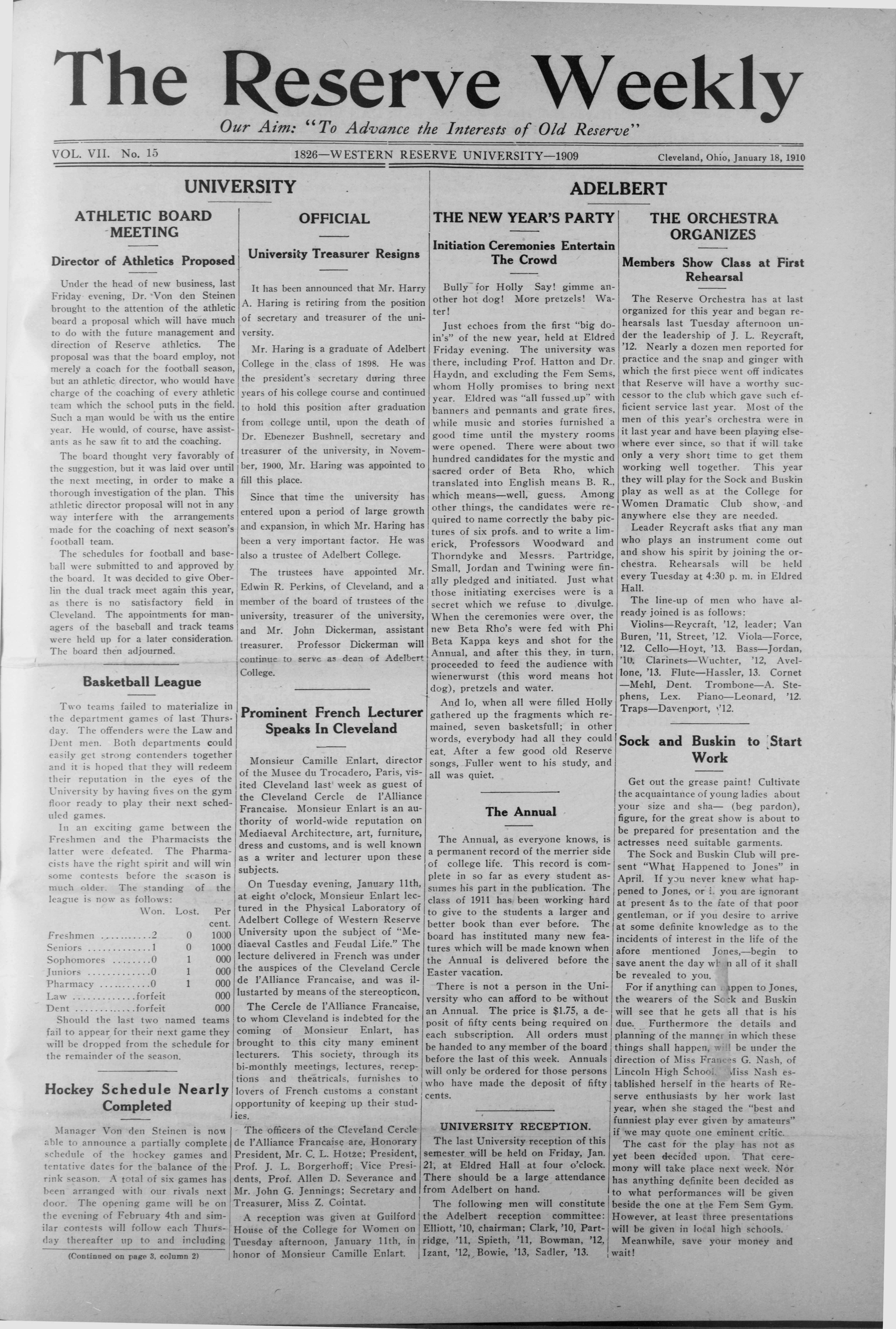 Frontpage of The Reserve Weekly, Volume VII, Number 15, 18 January 1910